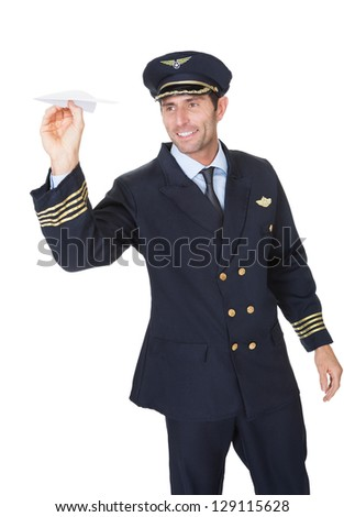 Portrait of confident pilot. Isolated on white