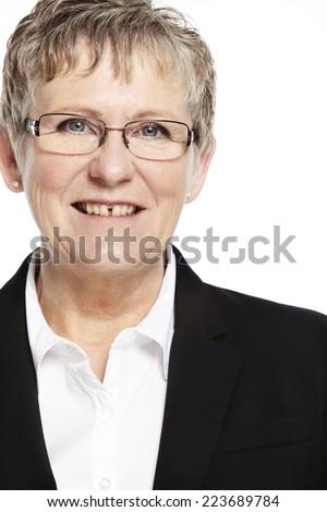 Portrait of confident senior businesswoman, studio - stock photo