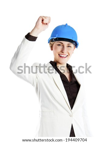 Portrait of confident young female happy architect standing isolated over white background