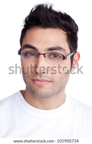 Portrait of confident young man isolated on white background. - stock photo