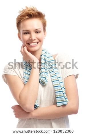 Portrait of confident young short hair woman smiling happy. - stock photo