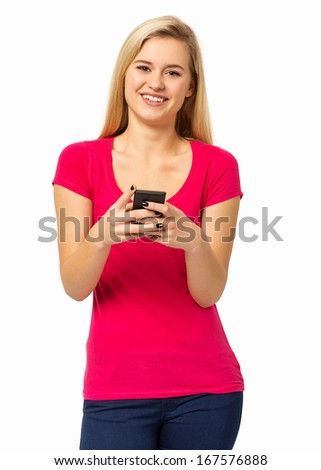 Portrait of confident young woman using smart phone isolated over white background. Vertical shot. - stock photo