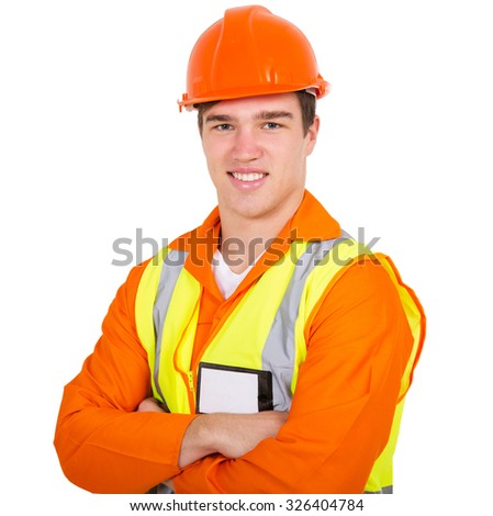 portrait of construction worker with arms folded - stock photo