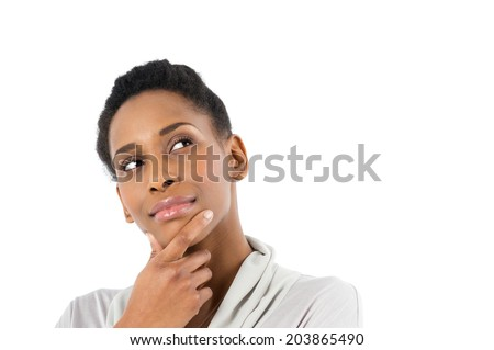 Portrait Of Contemplative African Young Woman Isolated On White Background - stock photo