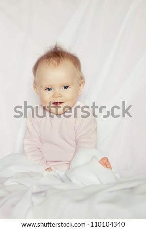 Portrait of contented baby - stock photo