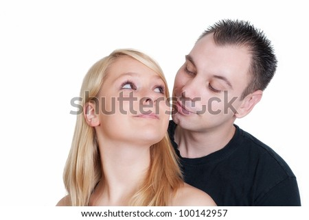 Portrait of cosy romantic couple hugging each other isolated on white background
