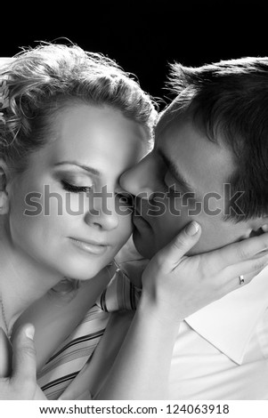 portrait of couple in love on studio shooting