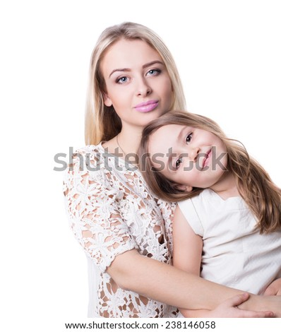 Portrait of couple. Mom and daughter . Happy family. - stock photo
