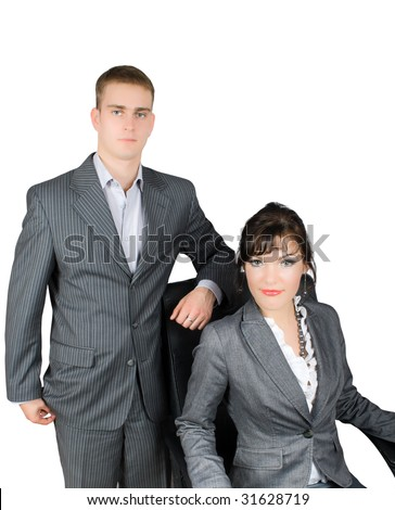 portrait of  couple of businessmen isolated on white with clipping path