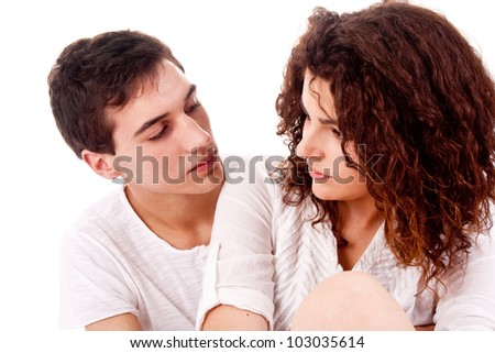 Portrait of couple with serious look