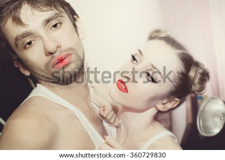 Portrait of couple young lovers closeup