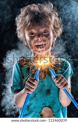 Portrait of crazy little electrician over black background
