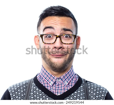 Portrait of crazy nerd with funny face - stock photo