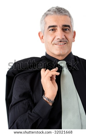 Portrait of creative looking mature businessman, smiling, isolated on white background. - stock photo