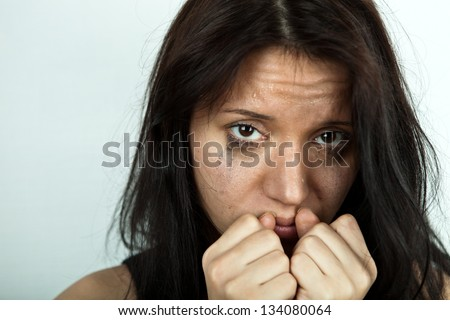 portrait of crying young woman - stock photo
