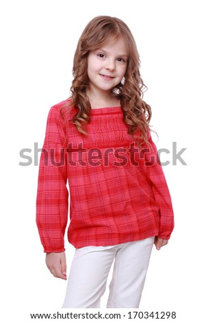 portrait of curly hair little girl isolated on white/blond kid little student girl portrait smiling - stock photo
