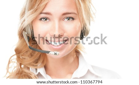 Portrait of customer service and call centre operator woman isolated on white background. Smiling girl in headset offering help and support. - stock photo