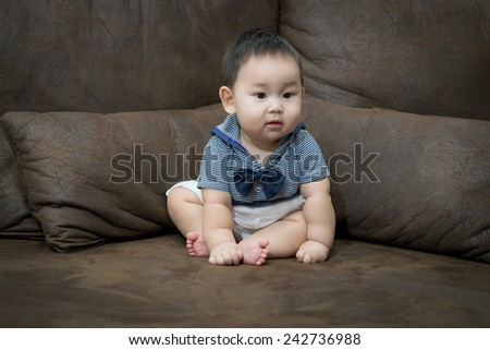 Portrait of cute baby, baby is a cute asian child