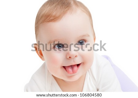 Portrait of cute blue-eyed baby - stock photo