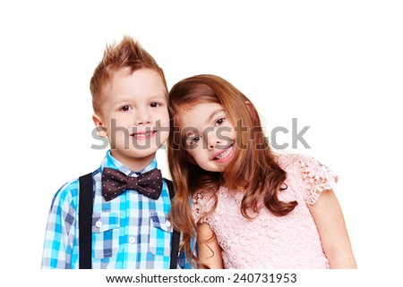 Portrait of cute boy and girl