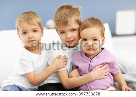 Portrait of cute brothers, close up - stock photo
