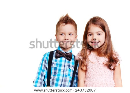 Portrait of cute children looking at camera