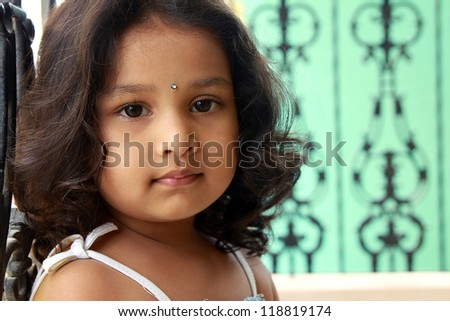 Portrait of Cute Indian Girl - stock photo