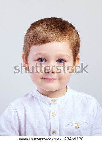 portrait of cute kid boy, four years old - stock photo