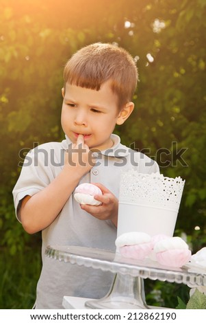 Portrait of cute kid eating marshmallow at summer day - stock photo