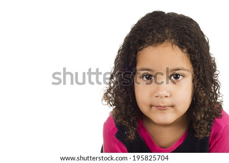 Portrait of cute latin girl isolated on white background