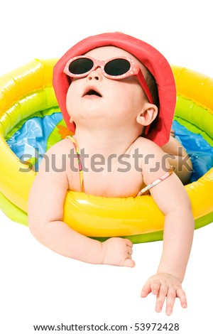 Portrait of cute little baby girl with sunglasses - stock photo