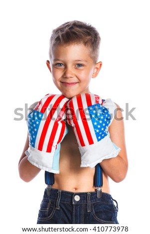 Portrait of cute little boxer boy wearing a boxer gloves. Isolated on a white backgrownd - stock photo
