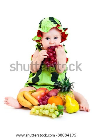 Portrait of cute little boy in watermelon costume. Isolated on white - stock photo