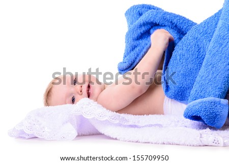 portrait of cute little caucasian girl  lies isolated on white background. baby 10 months - stock photo