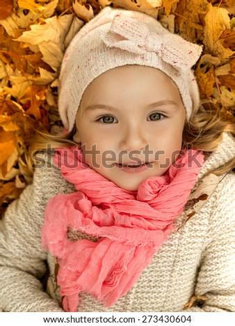 portrait of cute little female child - stock photo