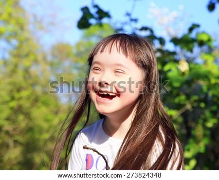 Portrait of cute little girl - stock photo