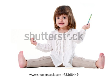 Portrait of cute little girl holding pencils. Isolated on white background. - stock photo