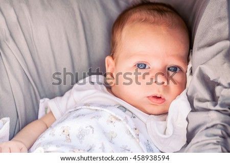 Portrait Of Cute 4-Month Baby Boy With Powerful Blue Eyes Sitting In A Stroller
