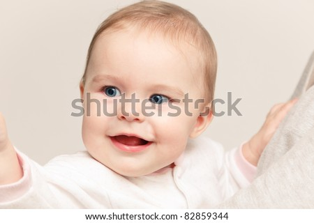Portrait of cute smiling baby - stock photo