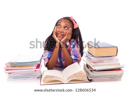 Portrait of cute student isolated on white background