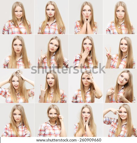 Portrait of cute  teenage girl with variety of facial expressions. Studio shot on grey background. - stock photo