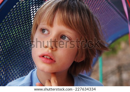 Portrait of cute 6 years old boy - stock photo