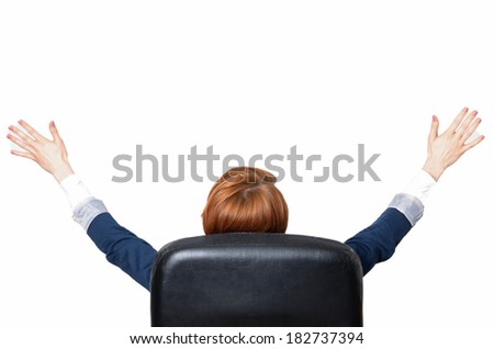 portrait of cute young business woman from behind dreaming, success concept - stock photo
