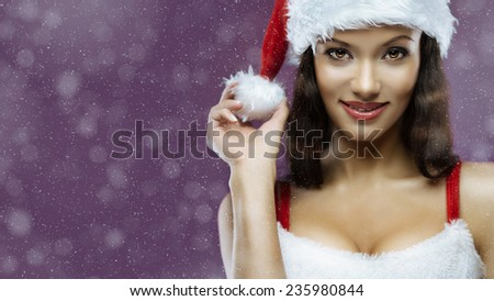 Portrait of cute young cheerful santa girl. Lot of copy space in left - stock photo