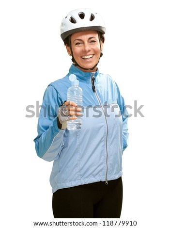 Portrait Of Cyclist Middle Aged Woman On White Background - stock photo