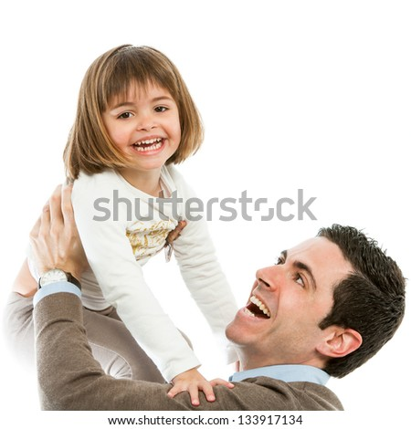 Portrait of dad and daughter playing around.Isolated. - stock photo