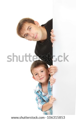 portrait of dad and son isolated on white