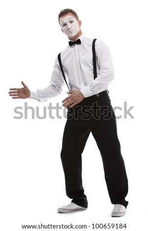 portrait of dancer mime. isolated on white background - stock photo