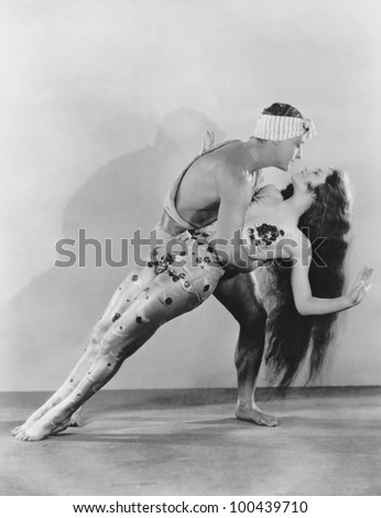 Portrait of dancers performing - stock photo