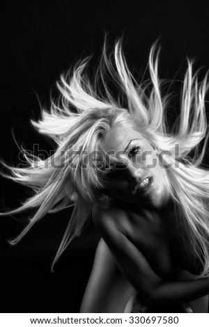 Portrait of dancing girl. Vogue style portrait of beautiful delicate woman. - stock photo
